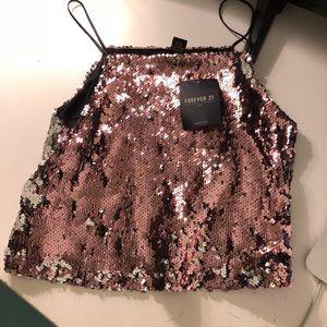 Pink and Silver Sequin Crop Top